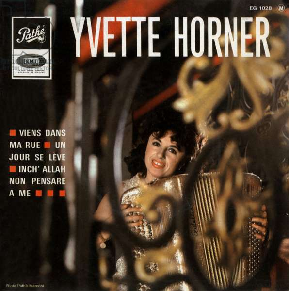 """Yvette Horner about 1967 """"Come in my street"""" """"Un jour se risve"""" and """"Inch Allah non pensare a me"""" vinyl record sleeve"""
