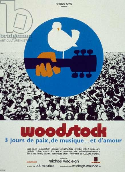 Affiche du documentaire Woodstock de MichaelWadleigh 1970 : il s'agit d'un documentaire sorti en 1970 sur le festival de Woodstock qui eut lieu en aout 1969.