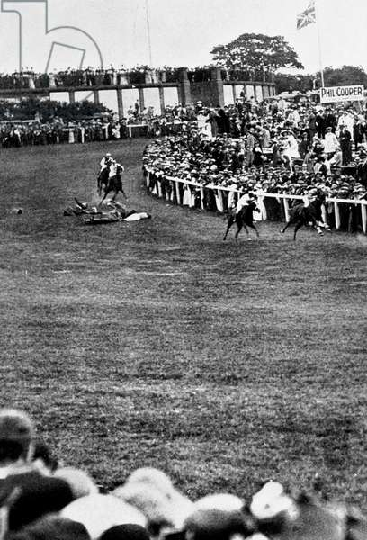 Death of suffragette Emily Davison throwing herself under horse of EdwardVII at Epsom derby on June 4, 1913