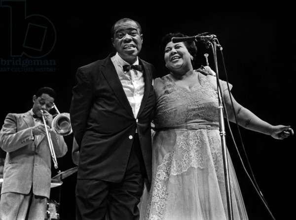 Louis Armstrong and Velma Middleton at a concert at Empress Hall in London in 1956
