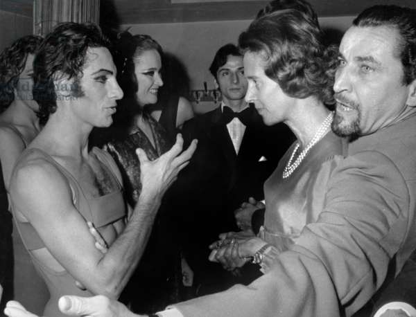 "King Baudouin of Belgium and Queen Fabiola with dancer Paolo Bortoluzzi and choreographer Maurice Bejart after performance of ""Ballets du XXe siecle"" in Brussels November 20, 1970"