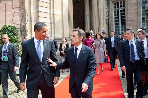 President Barack Obama walks with French President Nicolas Sarkozy from the Palais Rohan (Palace Rohan) April 3, 2009, following their meeting in Strausbourg, France