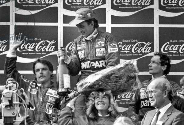 """Grand Prix of Belgium on May 9, 1982 : l-r : racing drivers Keijo Erik """"Keke"""" Rosberg, John Marshall Watson and Niki Lauda"""
