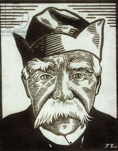 Prime Minister Georges Clemenceau (1841-1929) woodcut by Lebedeff