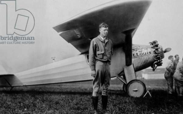 Charles Lindbergh (1902-1974) American aviator in front of his plane Spirit of Saint Louis on May 20, 1927 taking off from Roosevelt Field for his crossing of the Atlantic (New York-Paris)