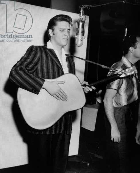 Elvis Presley in studio at New York, July 2, 1956