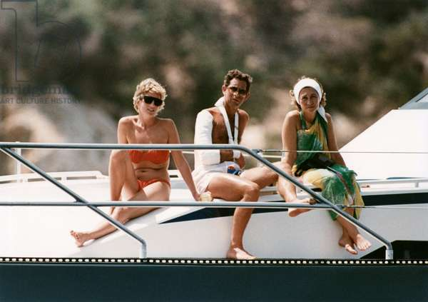Princess of Wales Diana (Diana Spencer, Lady Di) on holiday in Spain with Prince Charles and Queen Sophie of Spain; on King JuanCarlos's Yacht. August 13, 1990