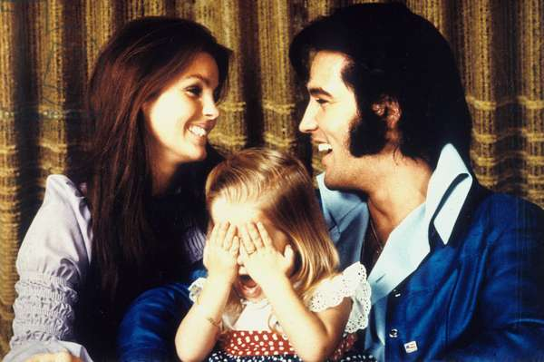 Elvis Presley (1935-1977) with his wife Priscilla and their daughter Lisa Marie Presley 1970