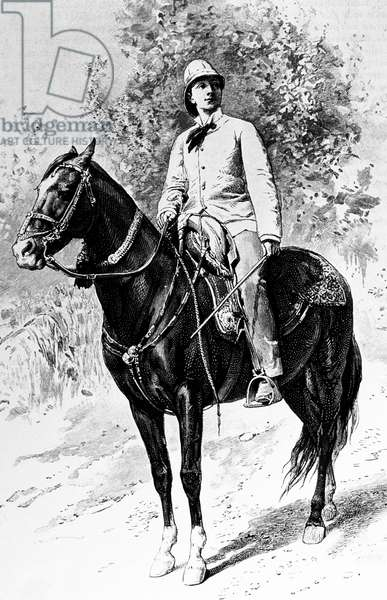 Jane Dieulafoy (1844-1920) French woman explorer and archeologist wearing man's suit, on horse, engraving (19th century)