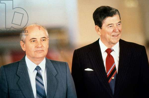 Mikhail Gorbatchev, President of USSR, and Ronald Reagan, American President, in Moscow in June 1988