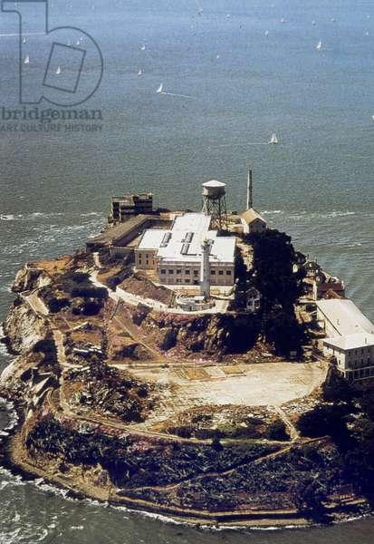 Alcatraz prison in (California) used from 1933 to 1963 here in 1934