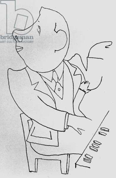 Francis Poulenc, 1924 (pen & ink on paper)