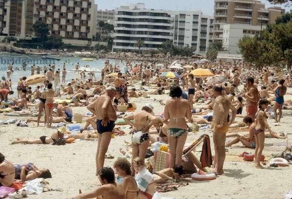 The crowd on the beach in Palma Nova, Majorca, Balearic (Spain) July 1978