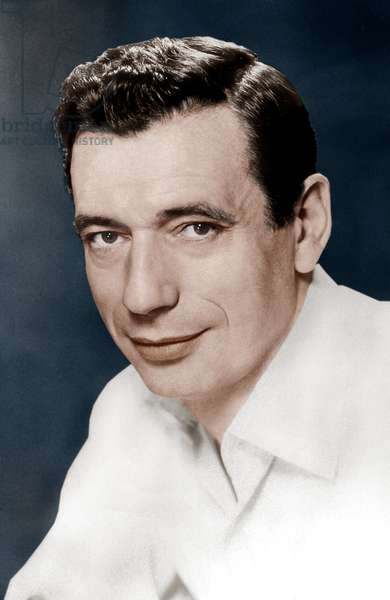 French Actor Yves Montand (1921-1991) in 1957 colourized document