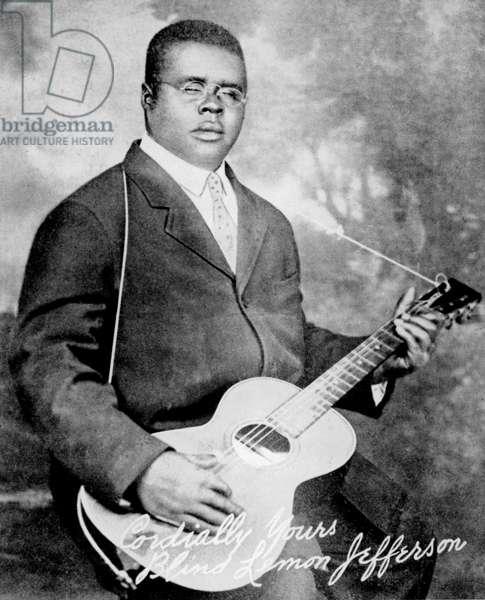 Blind Lemon Jefferson (1897-1930) musician and blues Singer in 1928