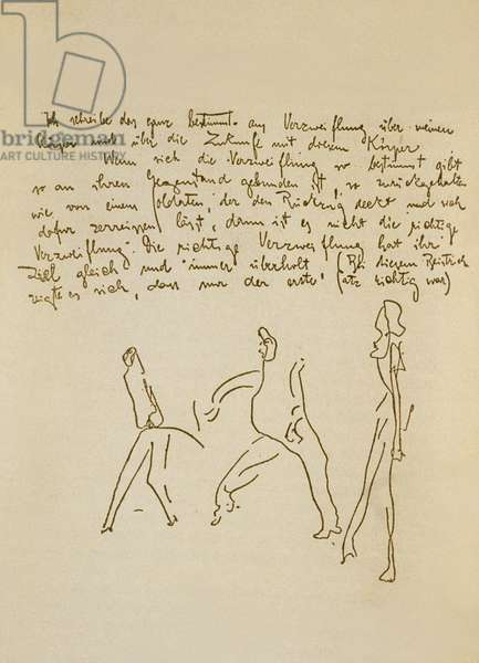 Manuscript by Franz Kafka (1883-1924) illustrated by himself