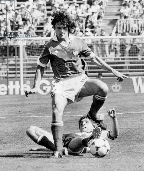 Football World Cup 1982 in Spain : France team vs Austria team , here French Didier Six and autrian player June 28, 1982