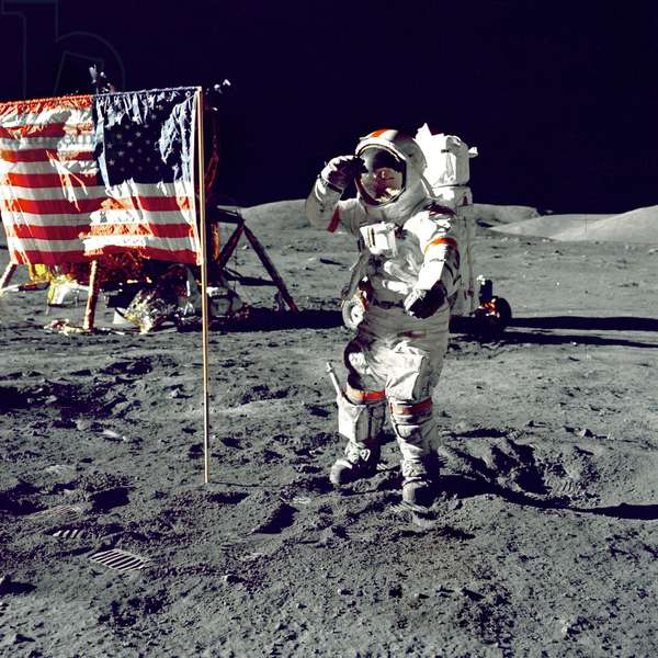 Eugene A. Cernan, Commander, Apollo 17 salutes the flag on the lunar surface during extravehicular activity (EVA) on NASA's final lunar landing mission. The Lunar Module