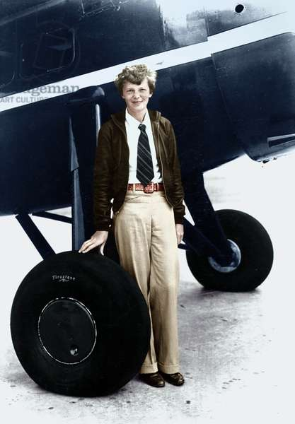 Amelia Earhart (1897-1937) American woman pilot who disappeared July 1937 in the Pacific Ocean while on a highly publicized world flight attempt, here c. 1935