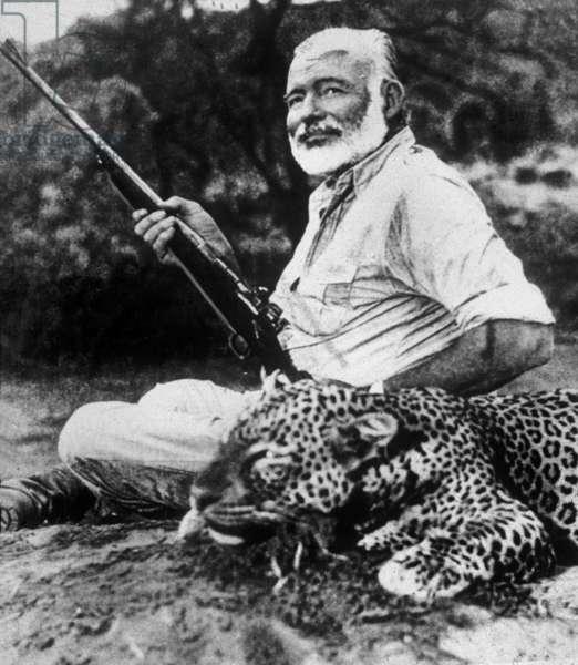 Ernest Hemingway (1899-1961) hunting in Africa in 1954