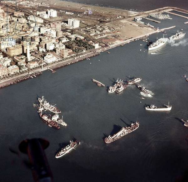 Boats sunk in Suez Canal to hinder traffic November 1956