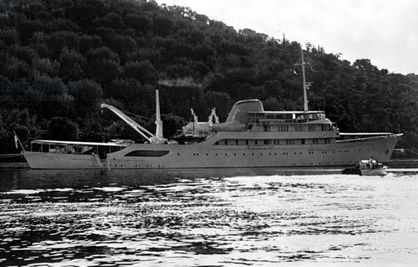 Yacht Christina at Skorpios island, Greece, for Wedding of Jacqueline Kennedy Bouvier and Aristote Onassis, October 20, 1968