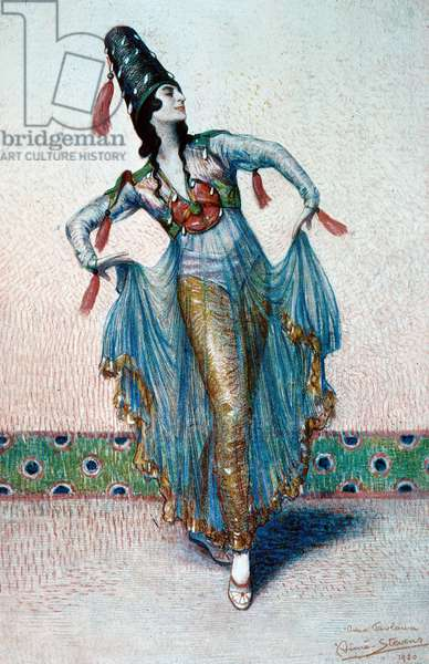 Anna Pavlova (1882 1931) Russian dancer she danced in the company of Serge Draghilev with Nijinski watercolor and gouache by Aime Stevens 1920