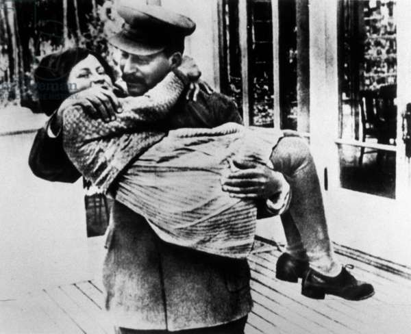 Josef Stalin (1879-1953) and his daughter Svetlana Alliluyeva 1937 at Stalin's country house in the suburbs of Moscow