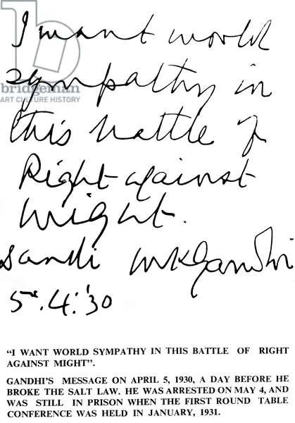 Message written on April 5, 1930 by Mahatma Gandhi : opposition against salt law