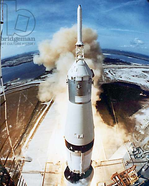 Lift off of Apollo 11 mission, with Neil Armstrong, Michael Collins, Edwin Buzz Aldrin on July 12, 1969 in Kennedy Spacecenter (Florida)