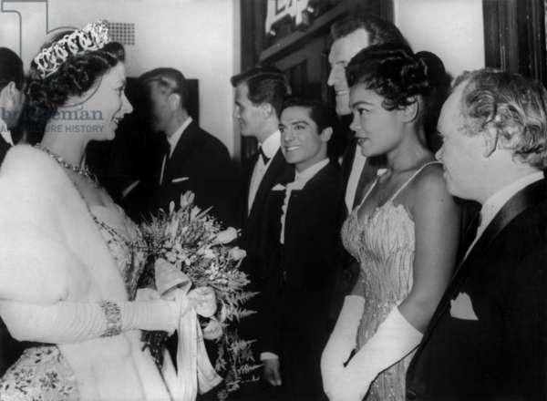 Eartha Kitt and Queen Elizabeth II of England