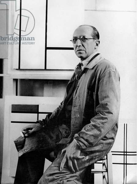 Piet Mondrian in his studio at 26 avenue du Depart, 1934 (b/w photo)