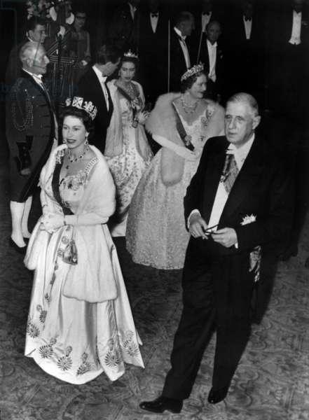 Queen Elizabeth II with President Charles De Gaulle arriving at Covent Garden, 8 April 1960