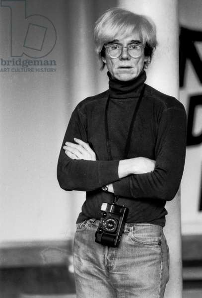 Andy Warhol in London, 1984 (b/w photo)