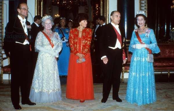 Francois Mitterrand on official visit to Britain in 1984