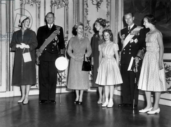 Queen Elizabeth II on official visit to Denmark in 1957