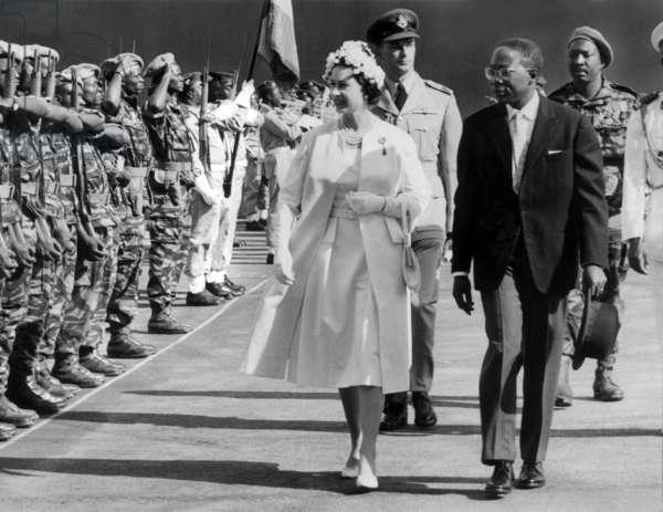 Elizabeth II of England and Senghor (b/w photo)