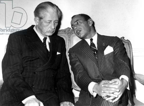 Prince Moulay Hassan of Morocco (future king Hassan II) and English Prime Minister Harold MacMillan during a reception in London, October 28, 1960