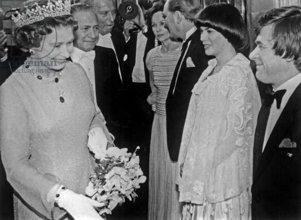 Mireille Mathieu and Queen Elizabeth II of England