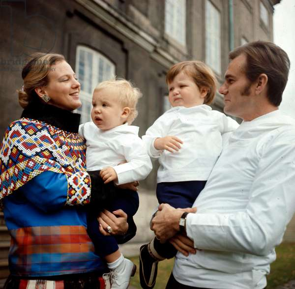 Princess Margrethe of Denmark (future queen Margrethe II) and her husband prince Henrik (Henri de Laborde de Monpezat) with their sons Joachim (l) and Frederik , 1970