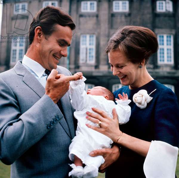 Princess Margrethe of Denmark (future queen Margrethe II) and her husband Prince Henrik (Henri de Laborde de Monpezat) with their son Prince Frederik, May 1968 (photo)