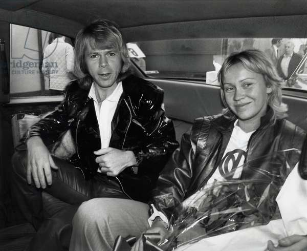 Members of ABBA group Bjorn Ulvaeus and his wife Agnetha Falkstog, 1979 (b/w photo)