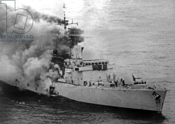 Falklands War: HMS Sheffield struck by an Argentinian Exocet missile, 4th May 1982