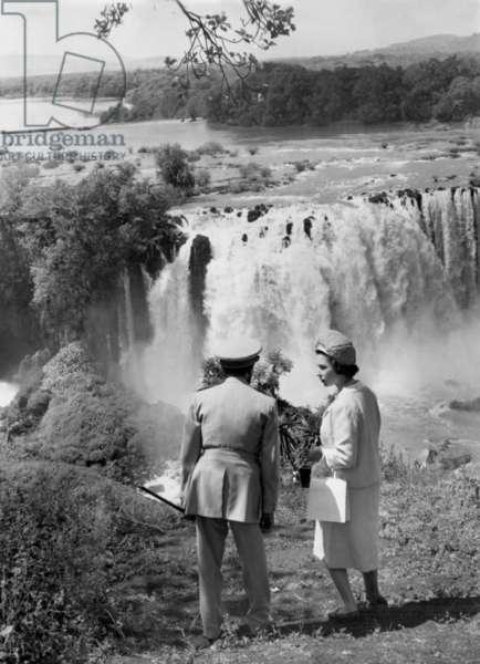 Elizabeth II and Haile Selassie at Tississat Falls, Lake Tana, 7th February 1965 (b/w photo)