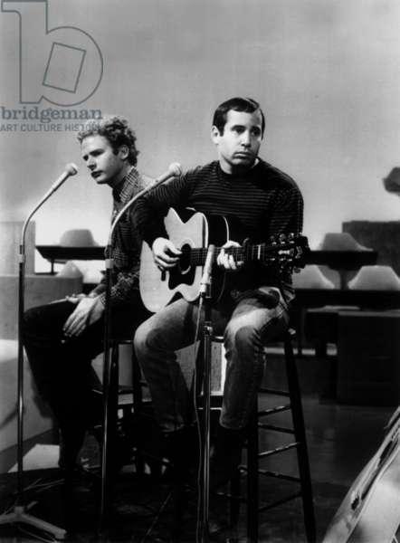 Singers Simon and Garfunkel C. 1966 (b/w photo)