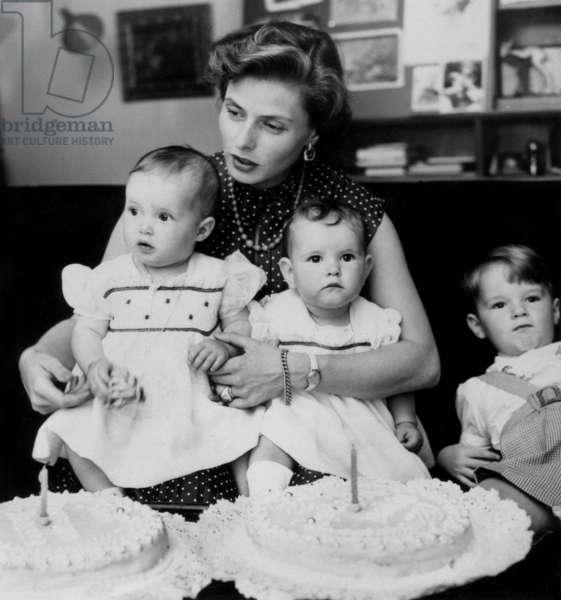 Ingrid Bergman With her Children Twins Isotta and Isabella Rosselini (1) and Son Robertino (4) in 1953  (b/w photo)