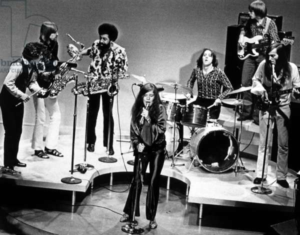 Singer Janis Joplin With Big Brother and the Holding Company (Studio Brass Section) C. 1967 (b/w photo)