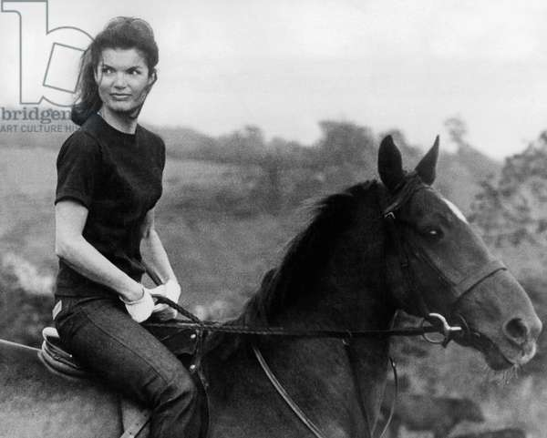 Jackie Kennedy Riding Horse in 1968 (b/w photo)