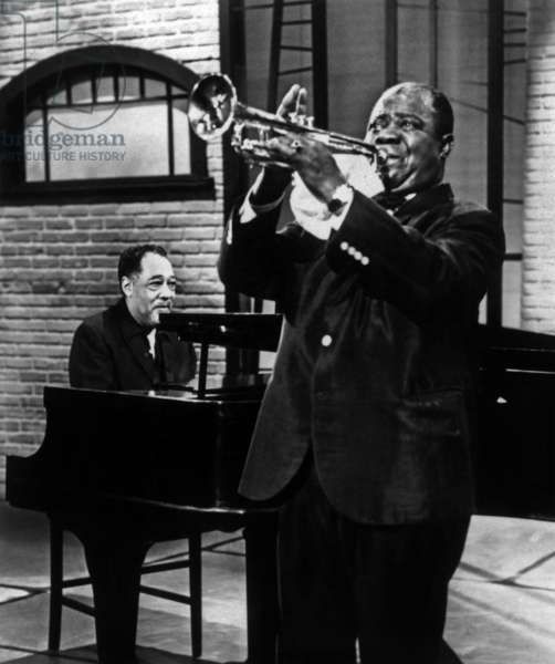 Duke Ellington Jazz Pianist and Louis Armstrong Jazz Trumpet Player at Ed Sullivan Show on December 17, 1961 (b/w photo)