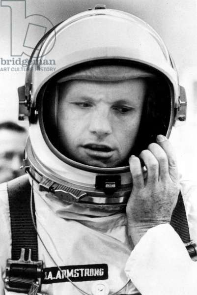 American Astronaut Neil Armstrong March 27, 1969 during Training For Apollo 11 Mission To The Moon (b/w photo)